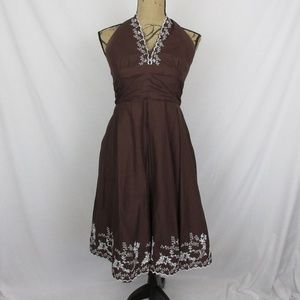 Robbie Bee Dress Halter Embroidered Eyelets Cotton